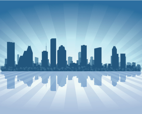 Houston Blue City skyline silhouette