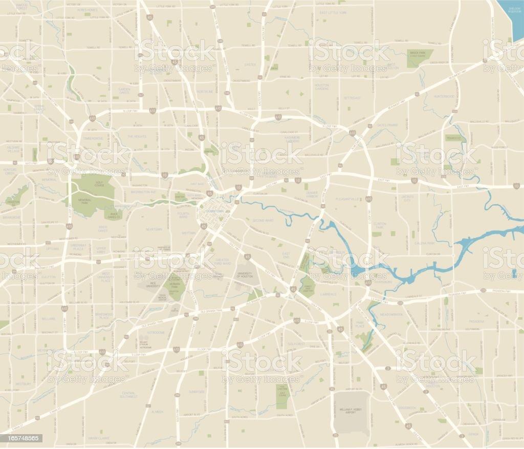 Houston City Map vector art illustration