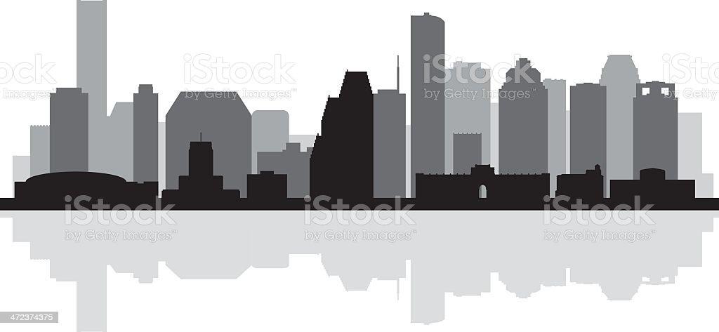 Houston city skyline detailed silhouette