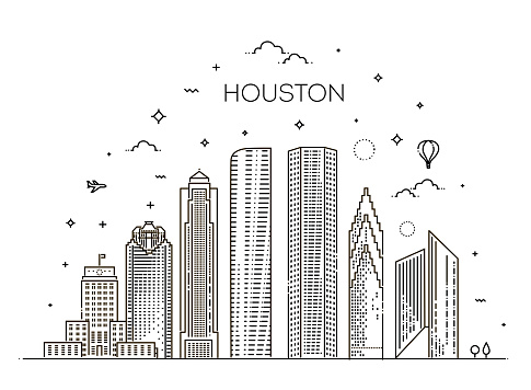 Houston city skyline, vector illustration in linear style. Texas, United States