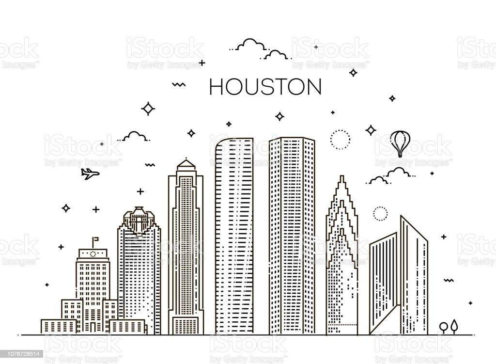 Skyline von Houston, Vektor-Illustration in linearen Stil. Texas, Vereinigte Staaten – Vektorgrafik