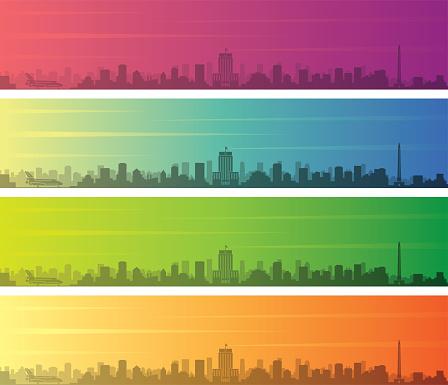 Houston Multiple Color Gradient Skyline Banner