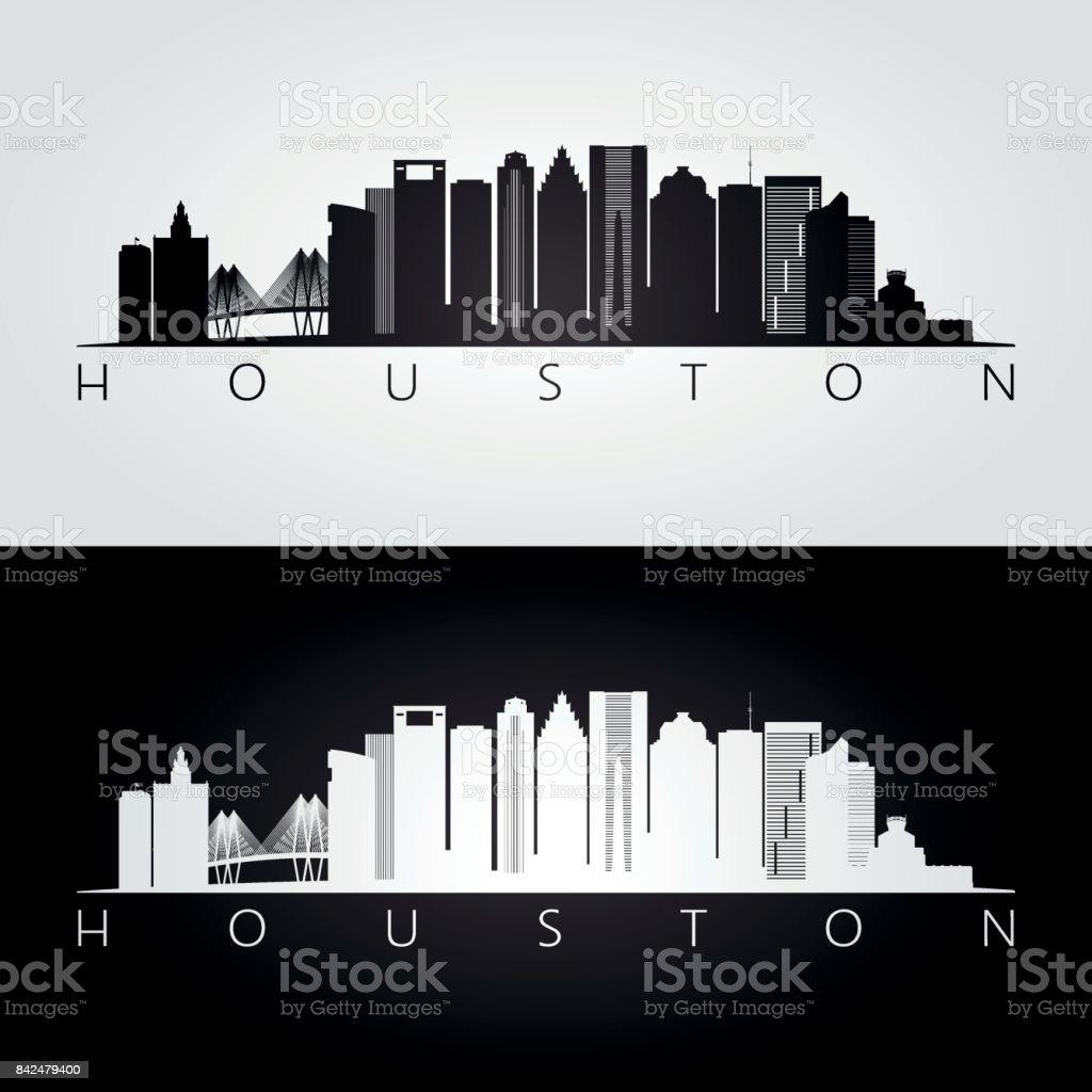 Houston skyline. Black and white silhouette. Vector illustration.