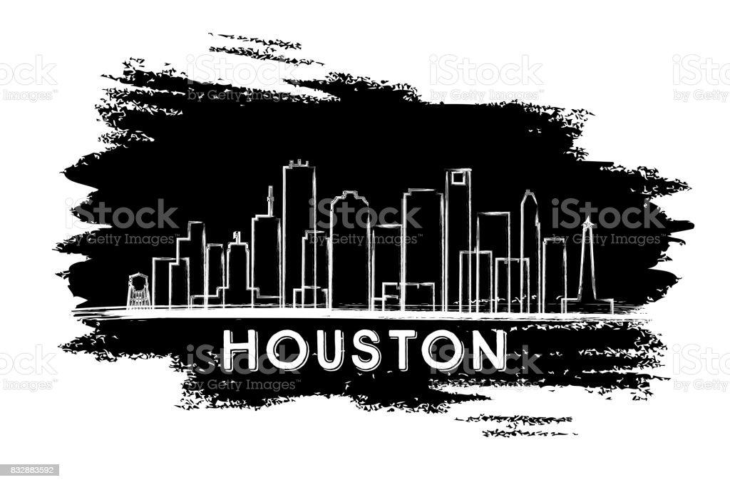 Houston Skyline Silhouette. Hand Drawn Sketch.
