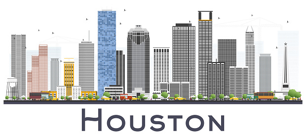 Houston Skyline USA City with Color Buildings Isolated on White Background.