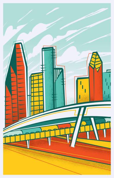 Houston, Texas Skyline vector art illustration