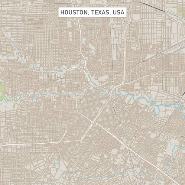 Houston Texas US City Street Map Vector Illustration of a City Street Map of Houston, Texas, USA. Scale 1:60,000. All source data is in the public domain. U.S. Geological Survey, US Topo Used Layers: USGS The National Map: National Hydrography Dataset (NHD) USGS The National Map: National Transportation Dataset (NTD) vector map green stock illustrations