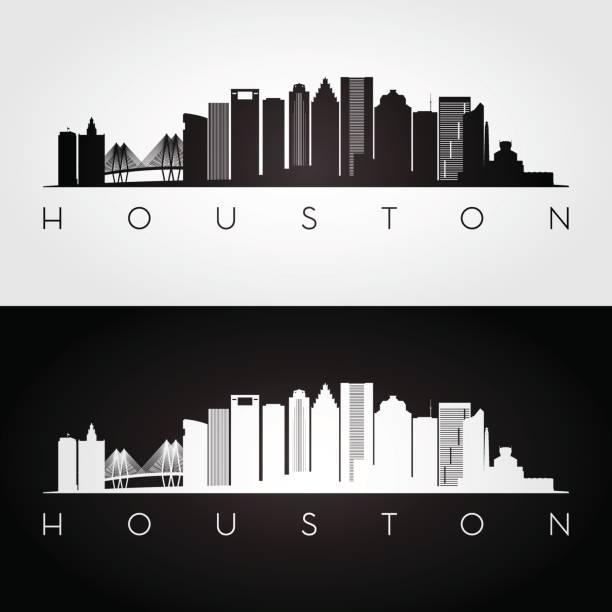 Houston USA skyline and landmarks silhouette, black and white design, vector illustration. Houston USA skyline and landmarks silhouette, black and white design, vector illustration. architecture silhouettes stock illustrations