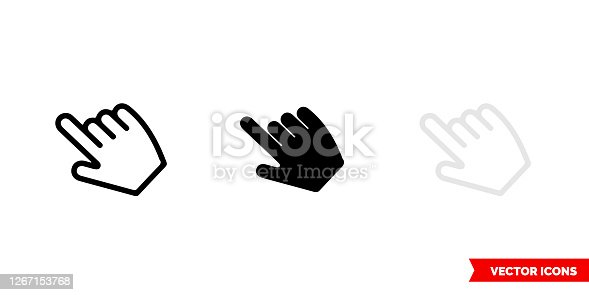 istock Hover icon of 3 types color, black and white, outline. Isolated vector sign symbol 1267153768