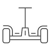 Hoverboard thin line icon, innovation transport symbol, self-balancing scooter vector sign on white background, Gyroscooter icon in outline style mobile concept and web design. Vector graphics