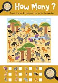 Counting game of african animals for preschool kids activity worksheet layout in A4 colorful printable version. Vector Illustration.