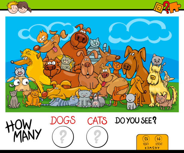 how many cats and dogs activity game - office party stock illustrations, clip art, cartoons, & icons