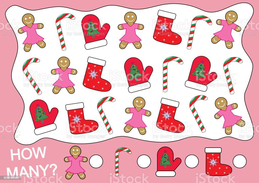 Ilustracion De Cuantos Objetos De Navidad Juego Matematico Para