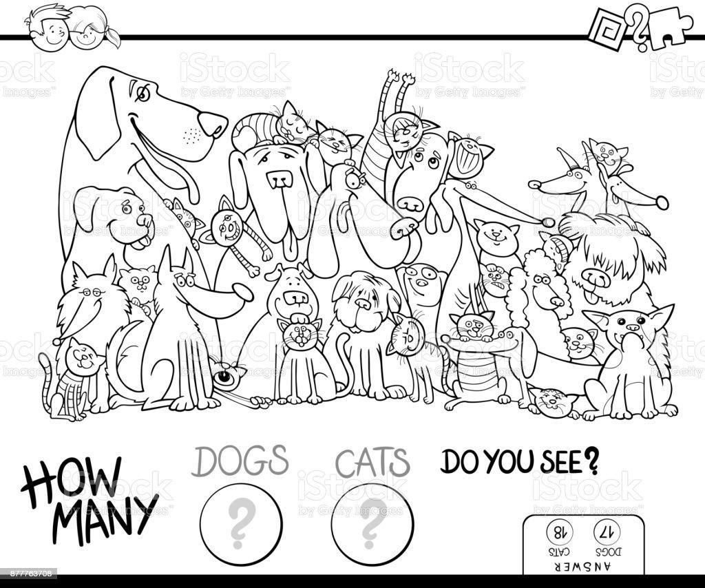 Kleurplaten Poezen En Honden Samen.Hoeveel Honden En Katten Kleurplaten Boek Stockvectorkunst En Meer