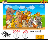 Cartoon Illustration of Educational Counting Game for Children with Dogs and Cats Animal Characters