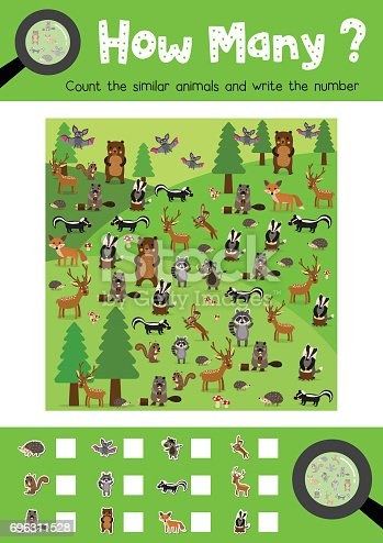 Counting game of forest animals for preschool kids activity worksheet layout in A4 colorful printable version. Vector Illustration.