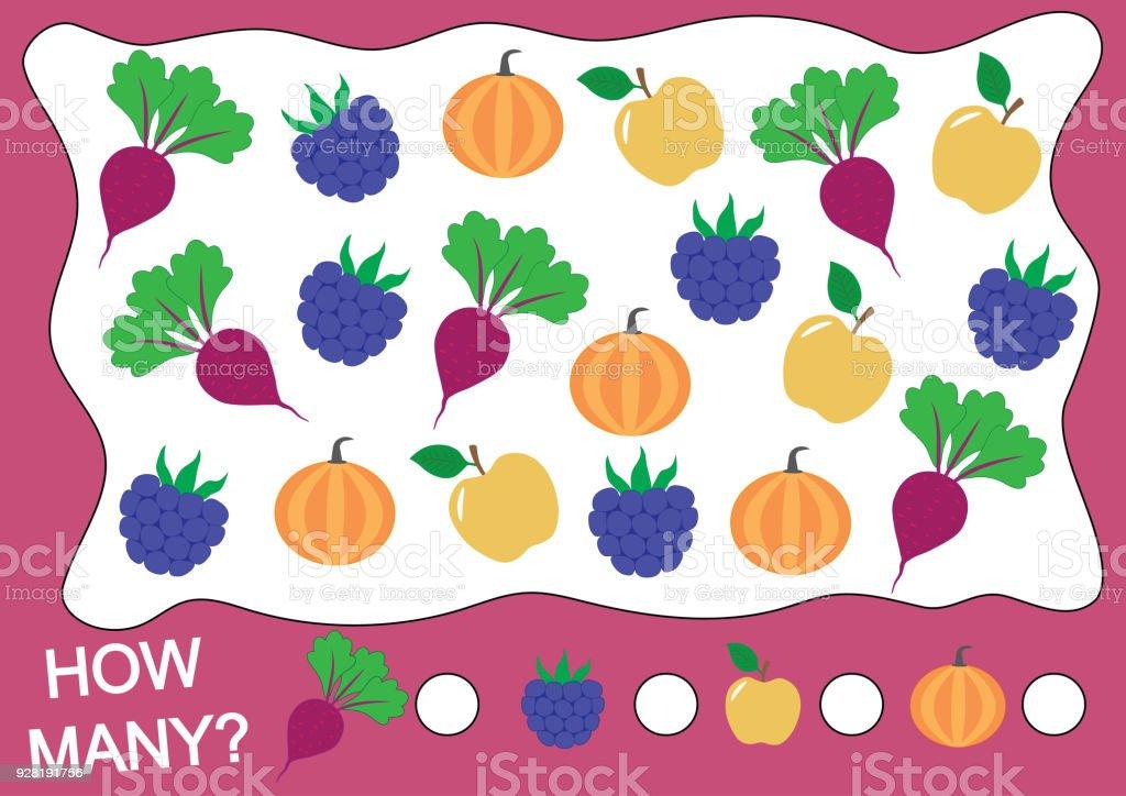 Wie Viele Früchte Beeren Und Gemüse Zahlen Mathematik Lernen Spiel ...
