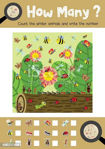 Counting game of insect bug animals for preschool kids activity worksheet layout in A4 colorful printable version. Vector Illustration.