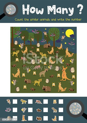 Counting game of nocturnal animals for preschool kids activity worksheet layout in A4 colorful printable version. Vector Illustration.