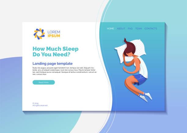 stockillustraties, clipart, cartoons en iconen met hoeveel slaap heeft u nodig bestemmingspagina vector template - woman home magazine