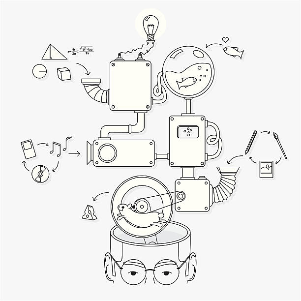how the creative brain works - machine stock illustrations, clip art, cartoons, & icons