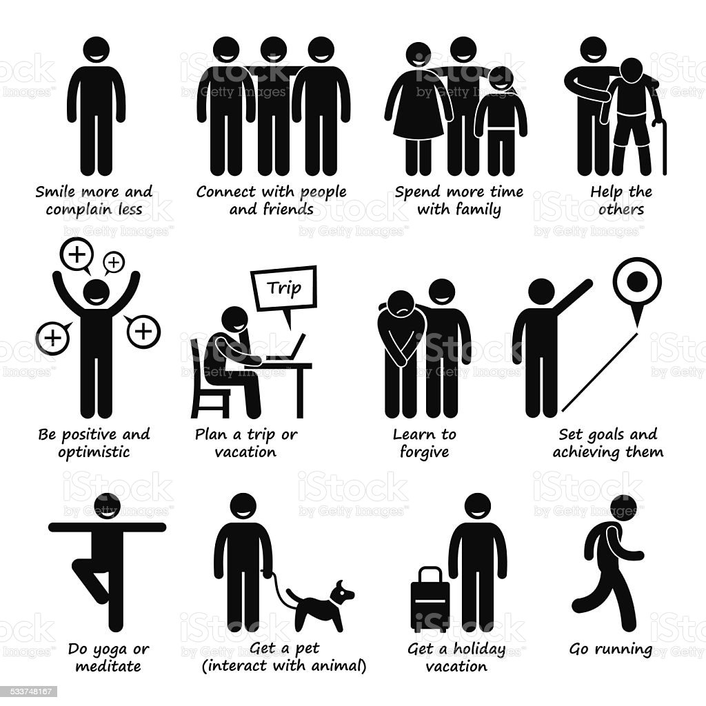 How to be a Happier Person Stick Figure Pictogram Icons vector art illustration