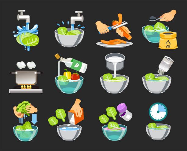 wie man gemüse ohne giftige substanzen reinigen. gesunde ernährung-konzept. - grundnahrungsmittel stock-grafiken, -clipart, -cartoons und -symbole