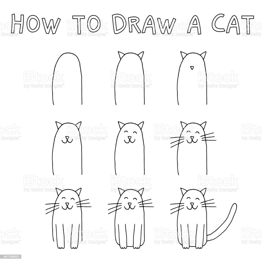 How to draw a cat royalty-free how to draw a cat stock illustration - download image now