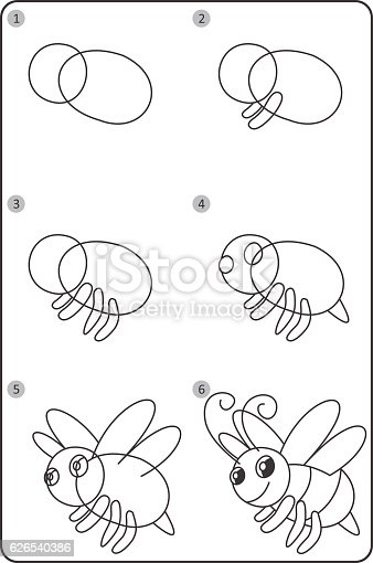 How To Draw Bee Easy Drawing Bee For Children Step By Step Stock