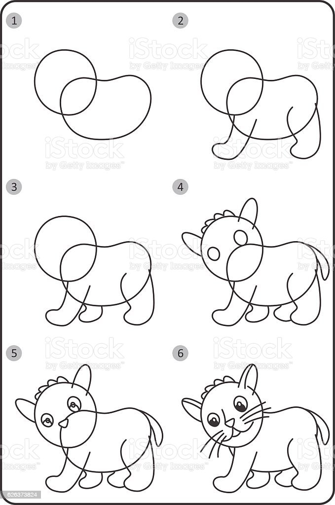 How To Draw Cat Easy Drawing Cat For Children Step By Step Stock