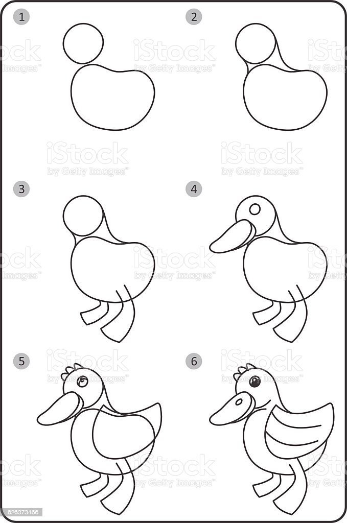 How To Draw Duck Easy Drawing Duck For Children Step By Step Stock