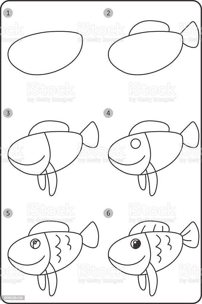 How To Draw Fish Easy Drawing Fish For Children Step By Step Stock