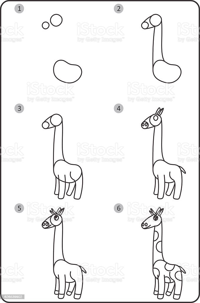 How To Draw Giraffe Easy Drawing Giraffe For Children Step ...