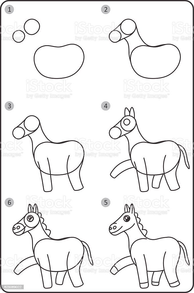 How To Draw Horse Easy Drawing Horse For Children Stock Vector Art