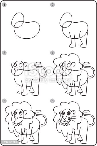 how to draw lion easy drawing lion for children step by step stock vector art 626372900 istock
