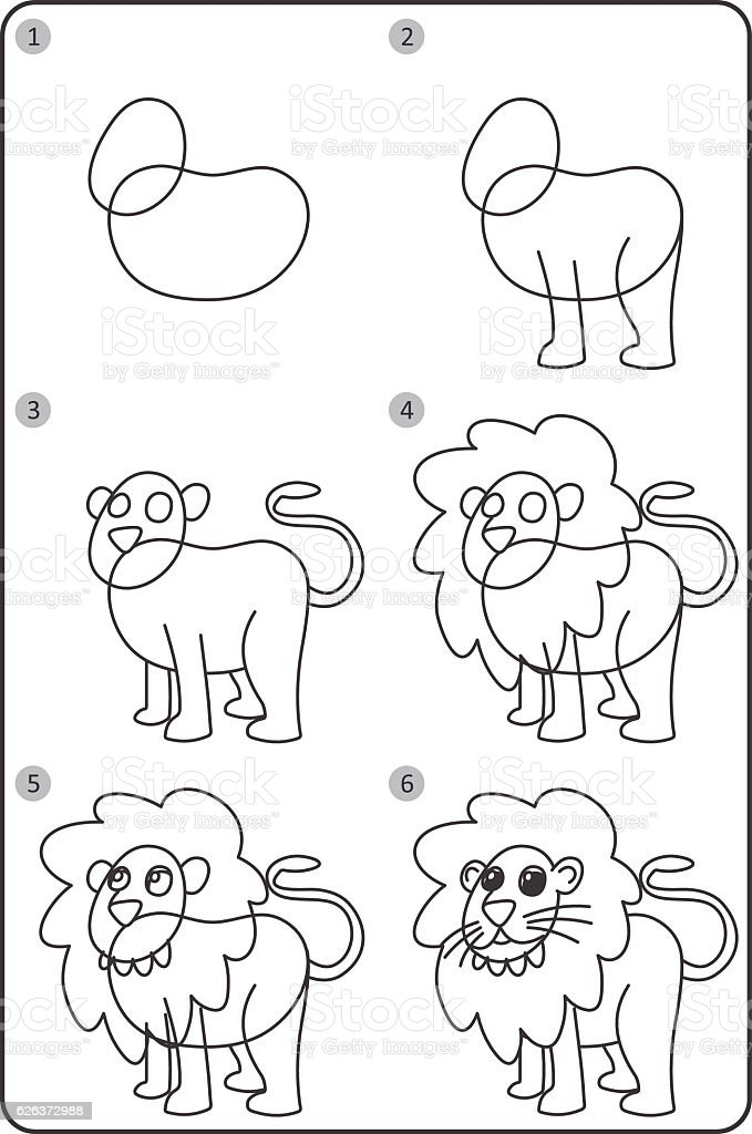 How To Draw Lion Easy Drawing Lion For Children Step By Step Stock