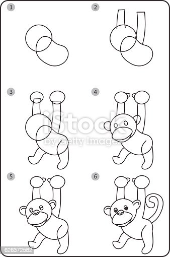 How To Draw Monkey Easy Drawing Monkey For Children Step ...