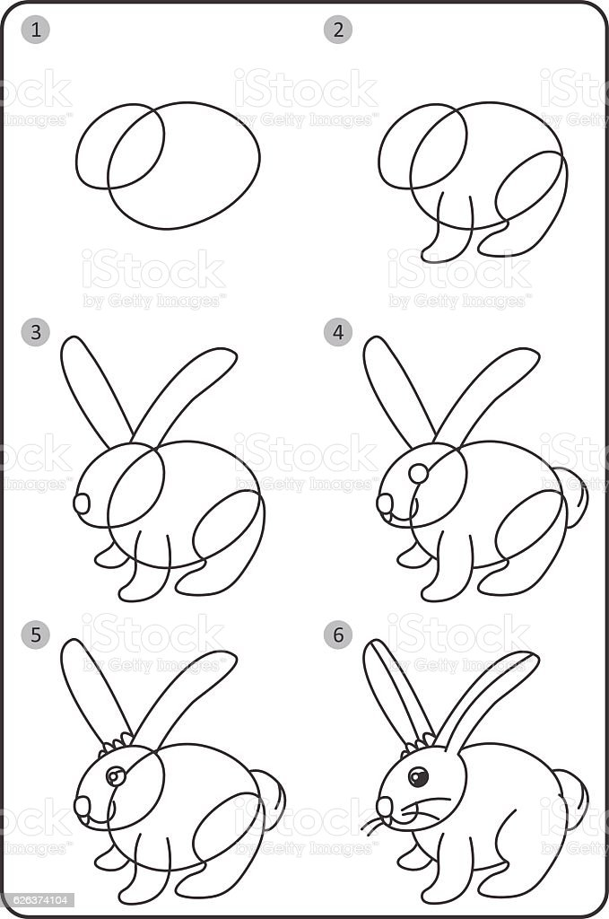 How to draw rabbit easy drawing rabbit for children step by step royalty