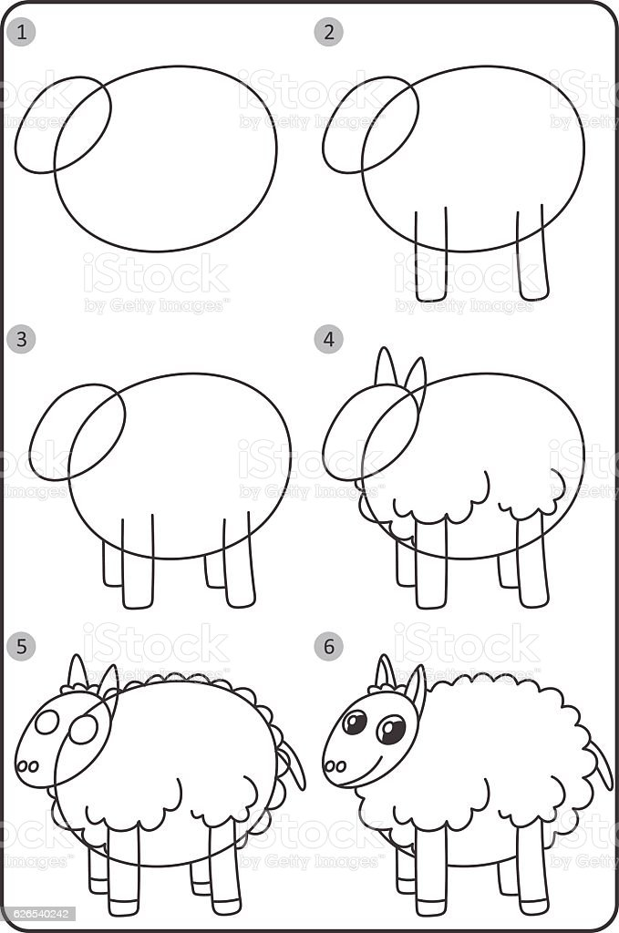 How To Draw Sheep Easy Drawing Sheep For Children Step By Step Stock