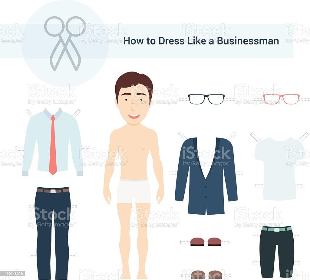 So kleiden Sie sich wie ein Geschäftsmann Vektor-Set – Vektorgrafik