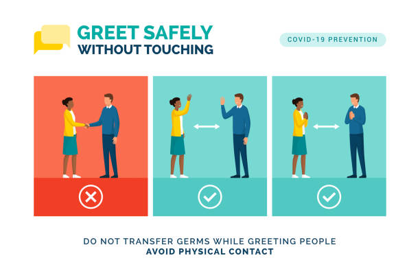 How to greet safely without touching Alternative safe greetings to avoid physical contact and to practice social distancing: coronavirus covid-19 prevention distant stock illustrations