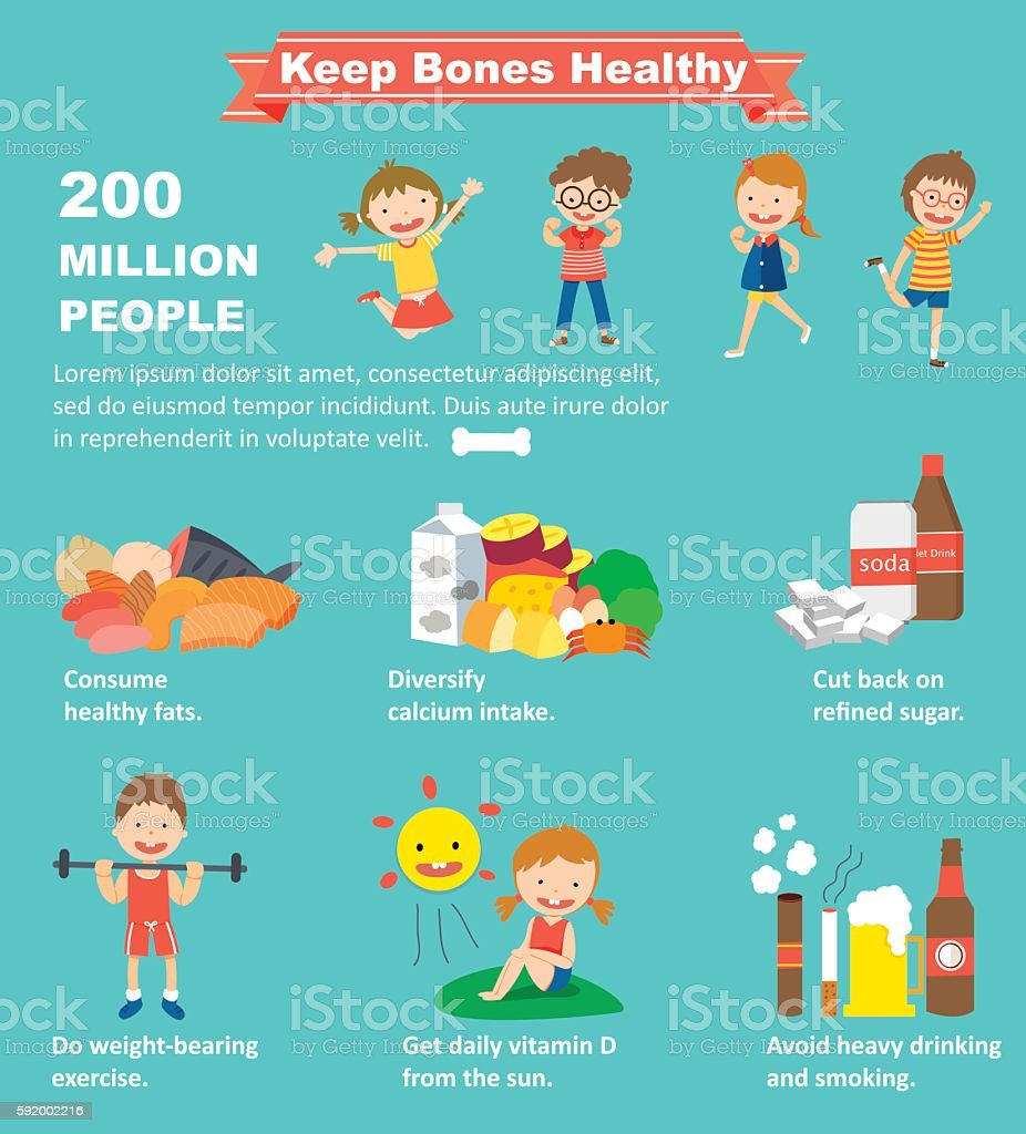 How to keep your bones healthy vector art illustration