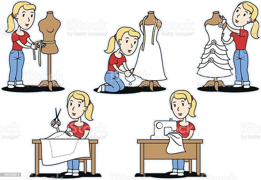 How to make a dress? vector art illustration