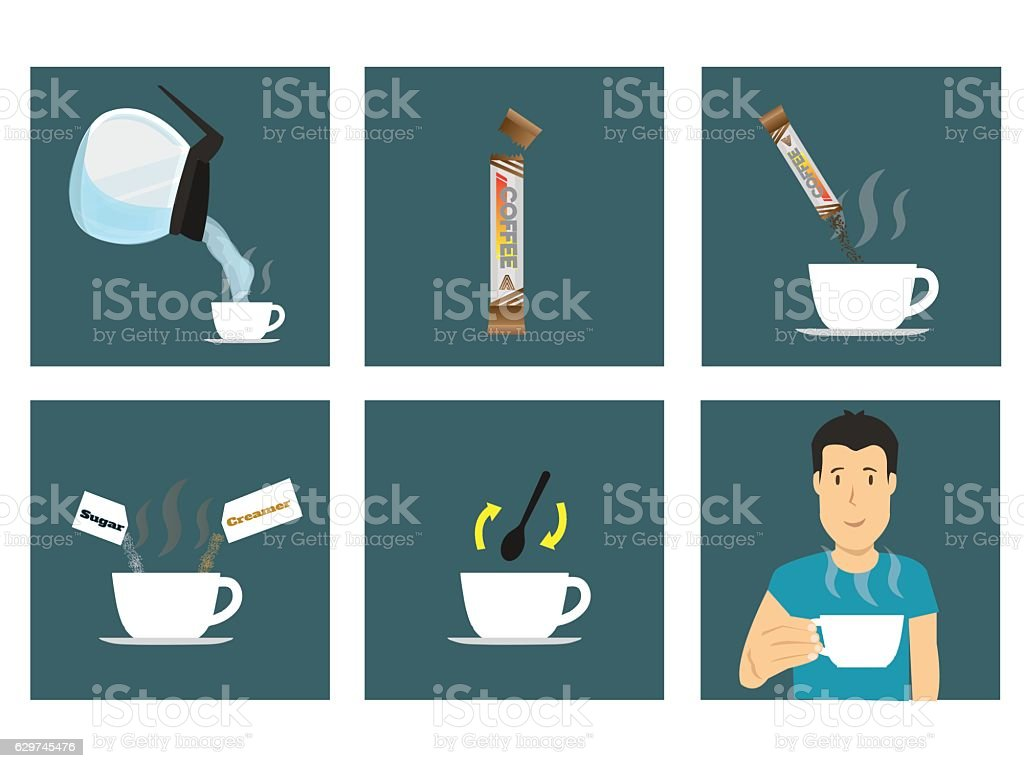 How To Make Coffee Instruction Steps Stock Vector Art More Images