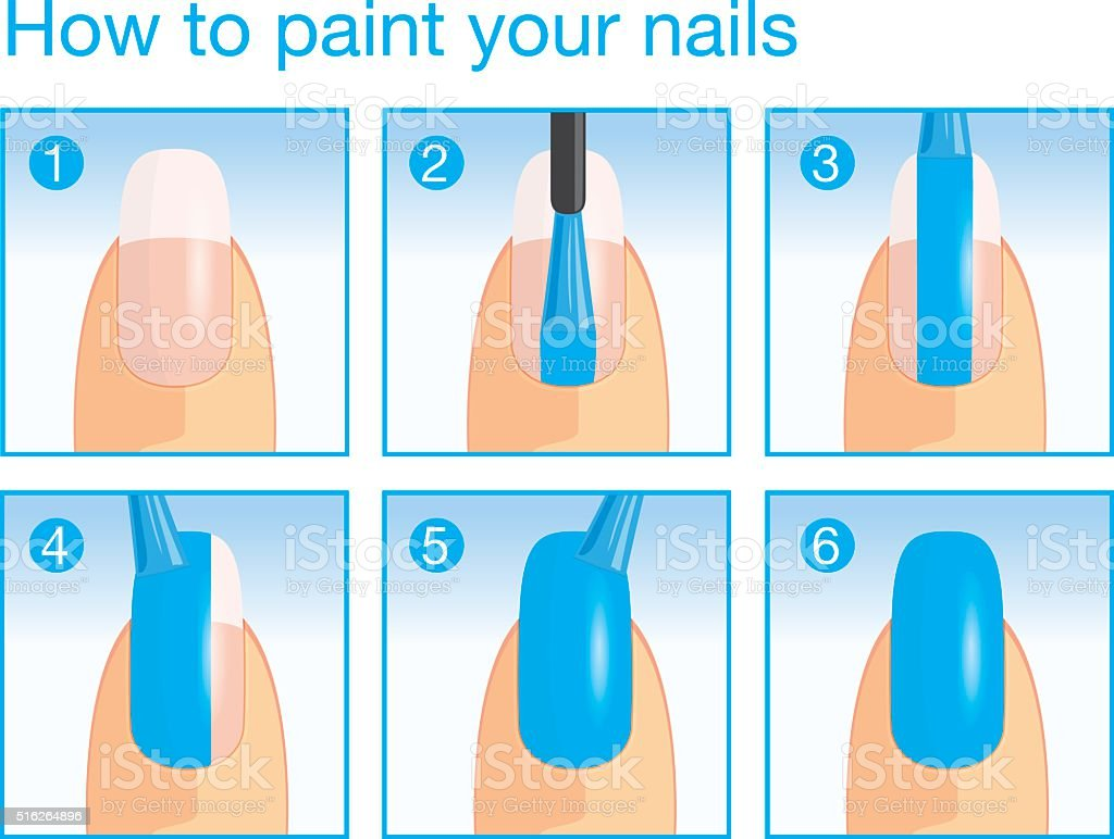 How To Paint Your Nails Stock Vector Art & More Images of Applying ...