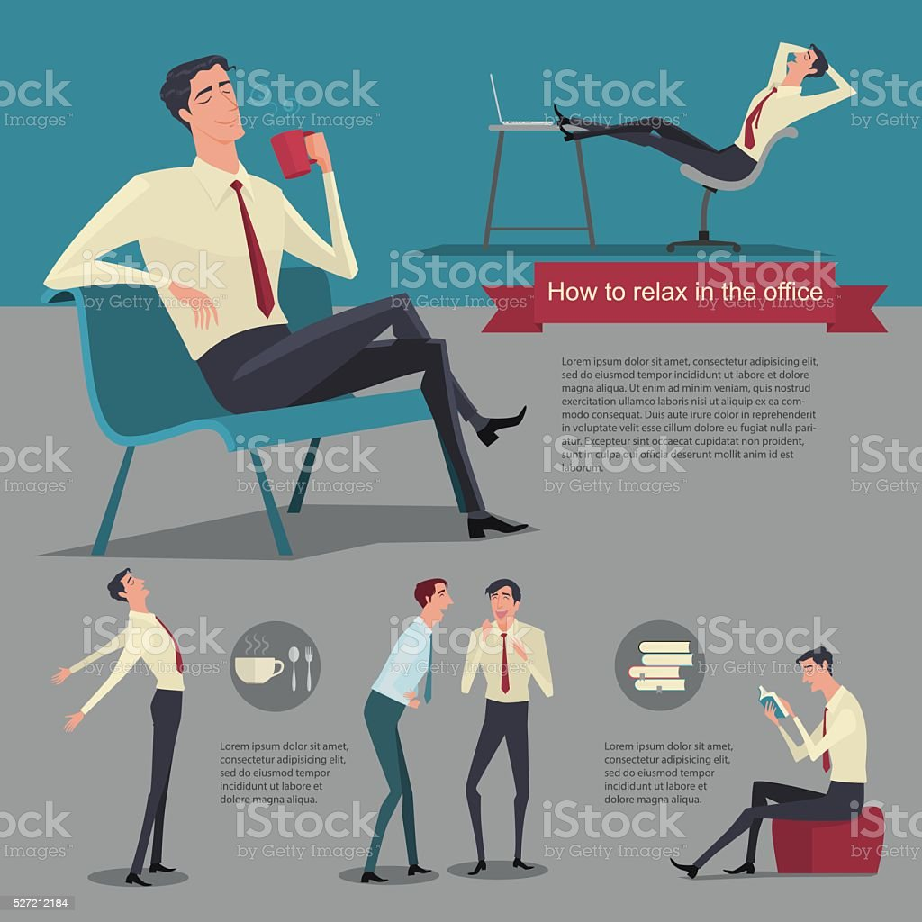 How to relax between work. vector art illustration