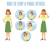 How to stop a panic attack - infographic poster with set of methods to interrupt mental illness. Cartoon woman before and after calming down - flat isolated vector illustration