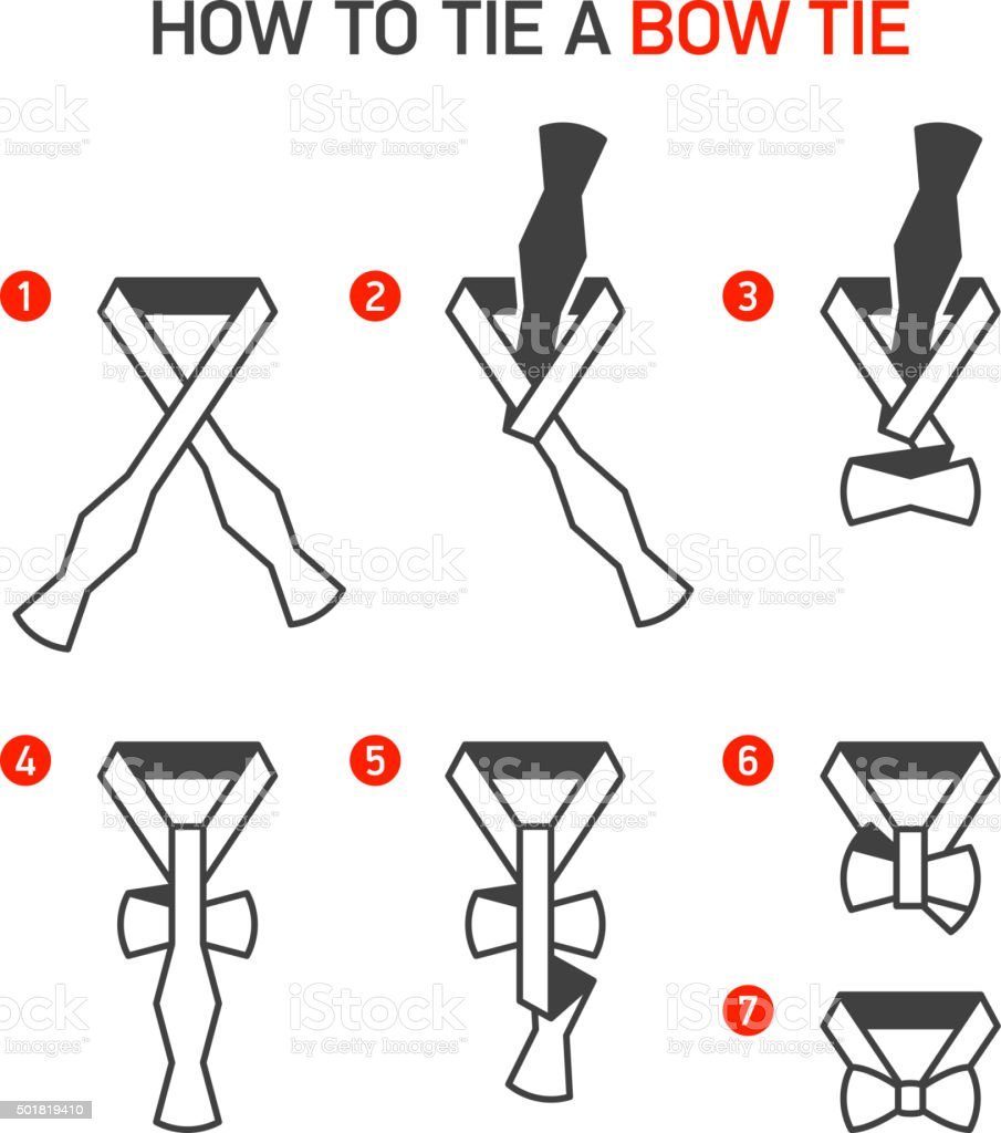 How to Tie a Bow Tie vector art illustration