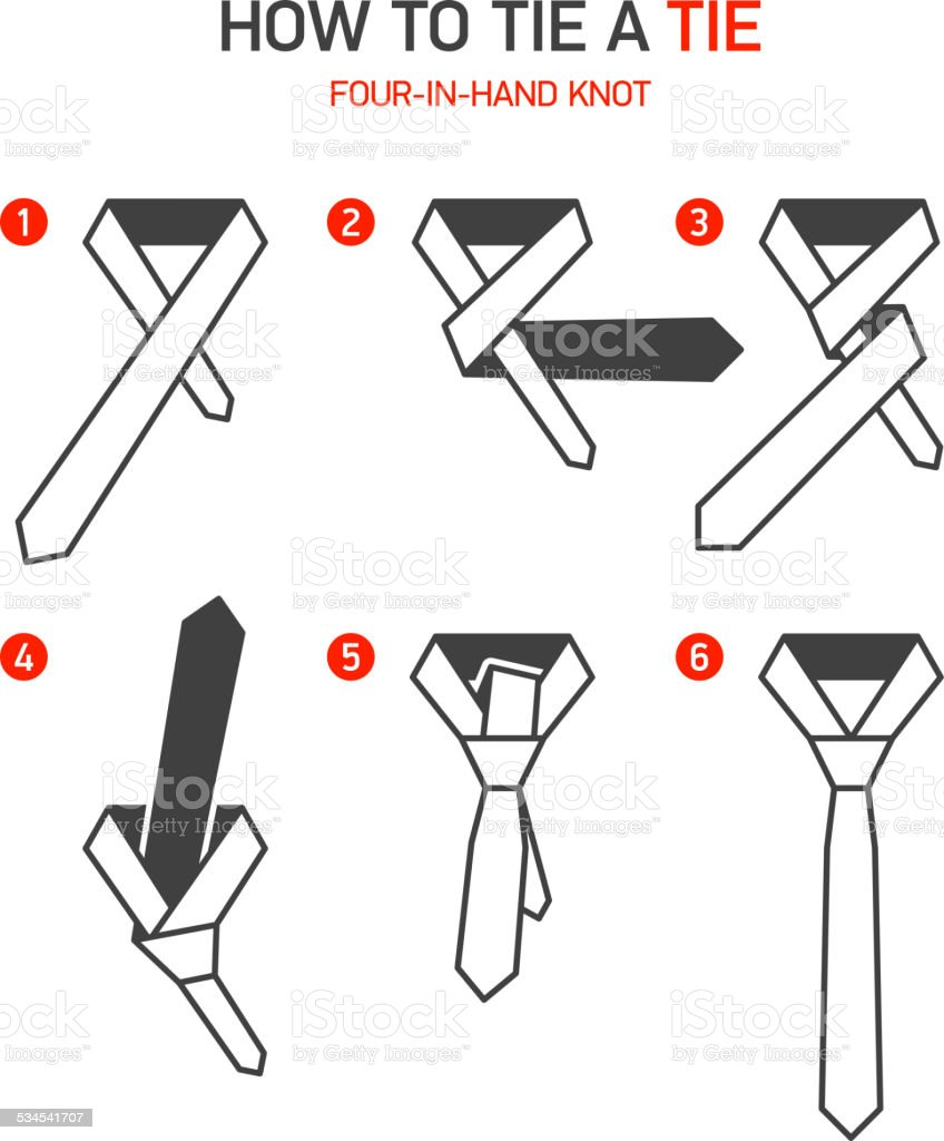 How to tie a tie instructions vector art illustration