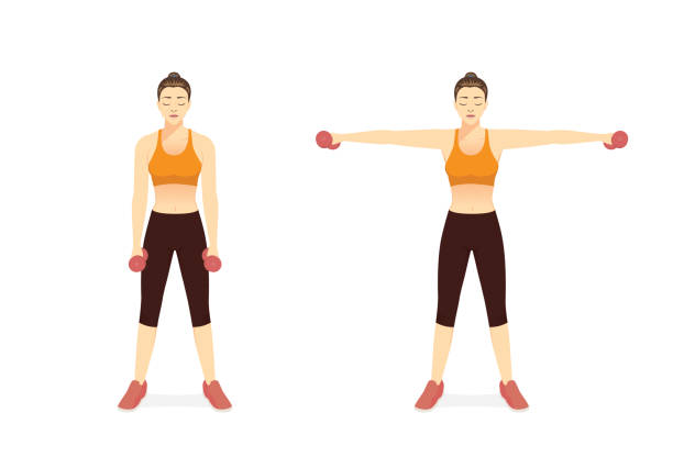 How to training Dumbbell Exercise in the Side Lateral Raise Shoulder pose by sport women. Fitness with lightweight workout equipment of gym. side, Lateral Ra vector art illustration